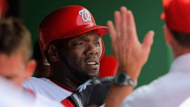 Former major leaguer Elijah Dukes, seen here with the Nationals in 2009, was arrested during a traffic stop early Thursday after officers noticed a small bag of marijuana on his lap.