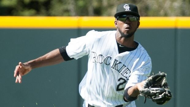 Dexter Fowler of the Colorado Rockies during a game against the Miami Marlins at Coors Field on August 19, 2012.