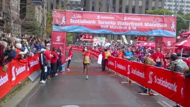 Sahle Betona Warga of Ethiopia had the fastest time in the Toronto Waterfront Marathon on Sunday, Oct. 14, 2012.