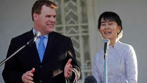 Burmese political activist Aung San Suu Kyi, pictured here with Canadian Foreign Affairs Minister John Baird, was made an honorary Canadian in 2007. Soe Zeya Tun/Reuters