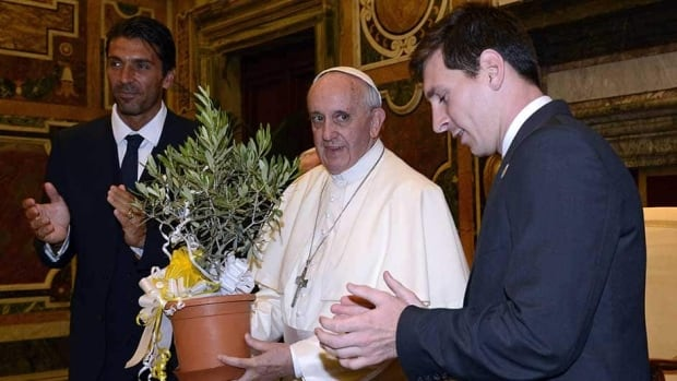 Pope Francis exchanges gifts with Gianluigi Buffon of Italy and Lionel Messi of Argentina, right, during a private audience at The Vatican on Tuesday in Vatican City, Vatican.
