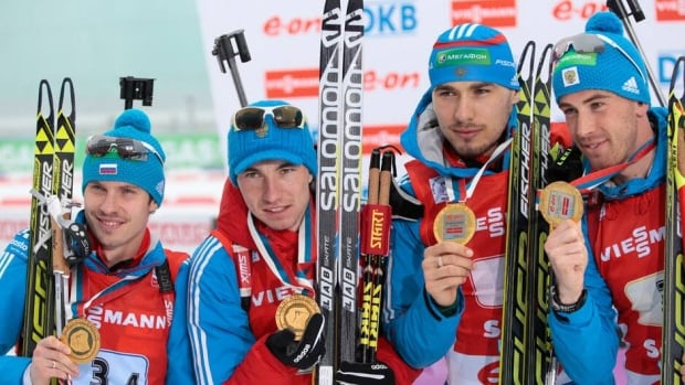 Winner of the men's biathlon relay was team Russia, from left, Evgeny Ustyugov, Alexander Loginov, Anton Shipulin, and Dmitry Malyshko in Sochi, Russia on Sunday.
