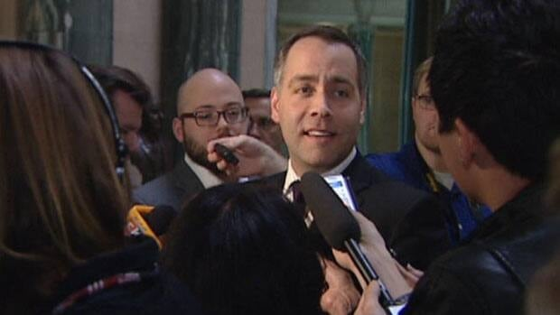 New Saskatchewan NDP leader Cam Broten takes questions in a scrum with reporters at the provincial legislature.