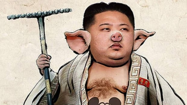 A picture posted Thursday on the North Korea's Flickr site shows leader Kim Jong-un's face with a pig-like snout and a drawing of Mickey Mouse on his chest.