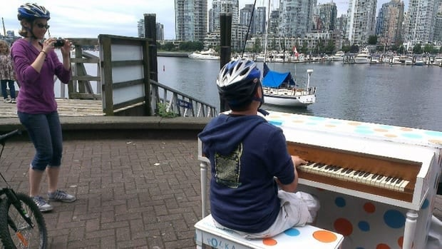 The public is welcome to stop and play one of four pianos on the streets of Vancouver this summer.