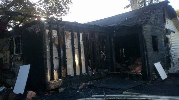 One man was hurt in a fire that destroyed 41 Sadler Avenue early Friday morning. (CBC)