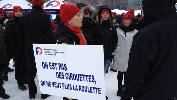Members of the Montreal police union are protesting the end of a pilot project that allowed officers to work three day weeks with extended hours.