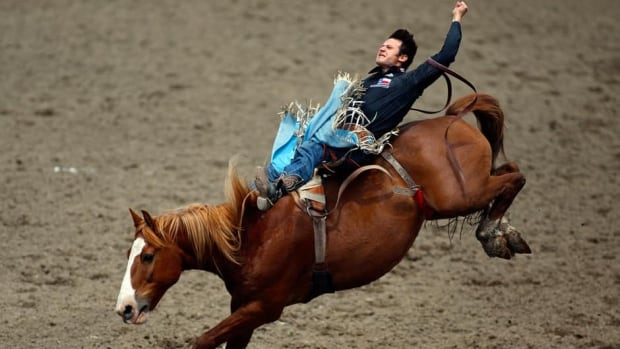 Clint Cannon during bareback rodeo action at the Calgary Stampede in Calgary, Alta., Sunday, July 7, 2013.