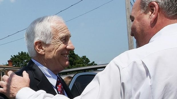 The defence rested its case and jury deliberations will start Thursday in the sexual abuse trial of Jerry Sandusky, left, who is charged with 51 criminal counts of sexual abuse on 10 boys over a 15-year period.