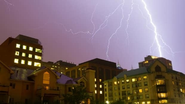 Ian Harding used a long exposure to capture this lightning near his condo in Eau Claire.