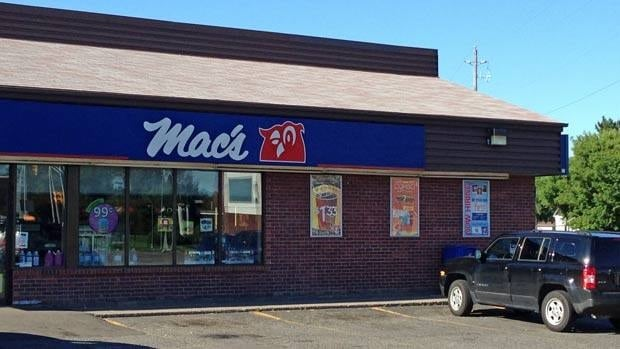 Thunder Bay police found a 20-year-old man in a yard not far from the Mac's store at Victoria and Waterloo streets after he allegedly held a knife to the clerk's neck before stealing cigarettes early Sunday morning.