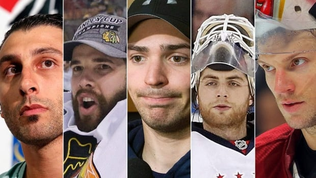 From left, Roberto Luongo, Corey Crawford, Carey Price, Braden Holtby and Mike Smith will be competing for the starting goalie job with the 2014 Canadian men's Olympic hockey team. (Canadian Press/Associated Press/Getty Images/CBCSports.ca)
