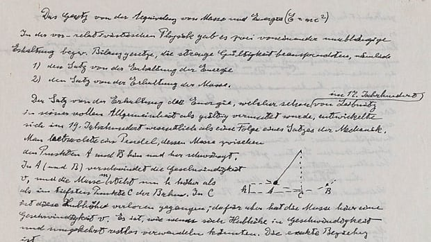 The artifacts newly posted online include one of only three existing manuscripts containing Einstein's famous formula, which describes the relationship between energy (E), mass (m) and the speed of light (c), which derives from Einstein's special theory of relativity.