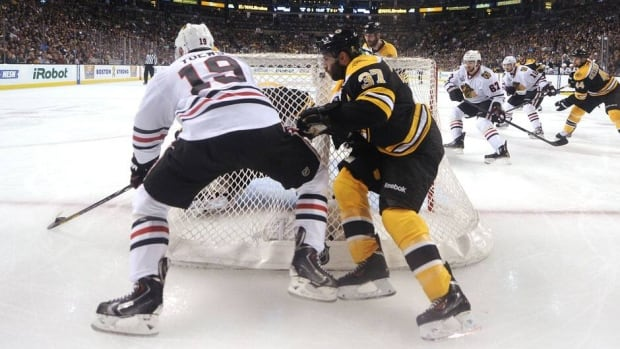 The availability of Blackhawks centre Jonathan Toews (19) and Bruins forward Patrice Bergeron (37) for Game 6 on Monday remains in question.
