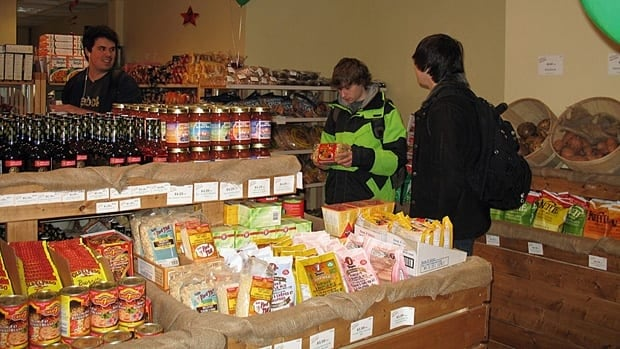 Students at the University of Western Ontario shop at the campus grocery store.