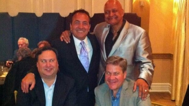 City hall lobbyists Jamie Besner, bottom left, and Paul Pellegrini, bottom right, attended Wednesday's fundraising bash involving Coun. Giorgio Mammoliti. Also posing for the photo are businessman Anthony Pullano, upper left, and motivational speaker and community activist Spider Jones.