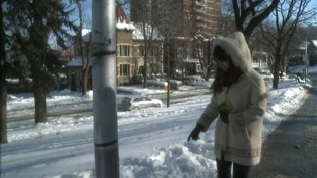 Kelly Downs says her dog Lily died next to this lamppost in Outremont.