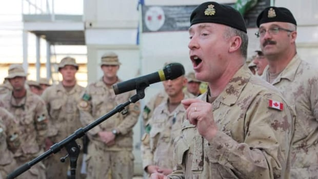 Lt.-Gen. Peter Devlin addresses Canadian soldiers at Kandahar Airfield, Afghanistan, on Wednesday May 11, 2011. Devlin is among the senior commanders set to retire from the Canadian military.