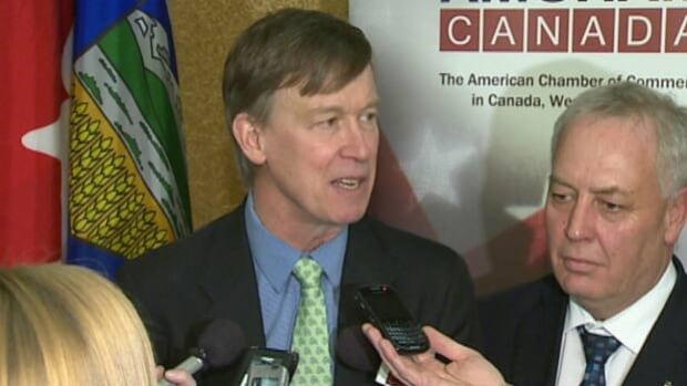 Gov. John Hickenlooper was in Calgary Thursday following a tour of the oilsands.