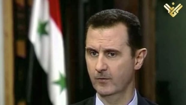 Russia's Interfax news agency quoted Syrian President Bashar al-Assad as saying he has no intention of giving up power, just days ahead of a peace conference scheduled to start in Geneva on Wednesday.