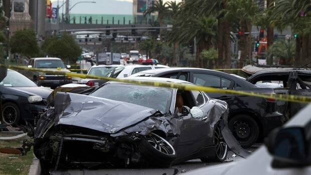 A shooting and multi-car accident left three people dead and at least three injured on the Las Vegas Strip in Las Vegas, Nevada in the early morning on Thursday.