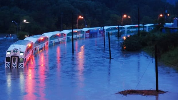 A GO Train is stranded in floodwater during a massive rainstorm that hit Toronto in July 2013.