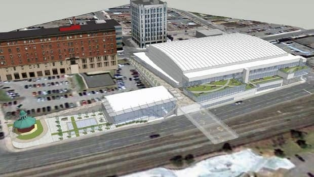 An aerial perspective looking west of a proposed event centre located at Thunder Bay's waterfront.
