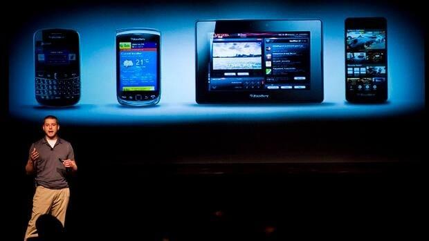 RIM's Tim Neil speaks about the BlackBerry 10 in Toronto in June.