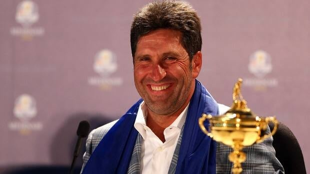 European team captain Jose Maria Olazabal speaks with the media after Europe defeated the USA 14.5 to 13.5 to retain the Ryder Cup in Medinah, Illinois Sunday.