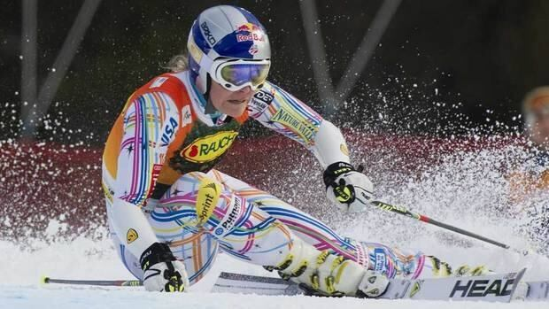 Lindsey Vonn carves out a turn during during Friday's giant slalom event in Are, Sweden.