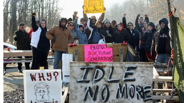 People from Aamjiwnaang First Nation and supporters began their blockade of the CN St. Clair spur line on Friday.