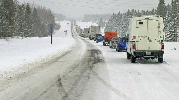Provincial police closed part of Hwy 17 Tuesday morning due to slick road conditions. It has since been re-opened.