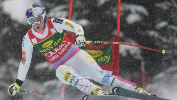 Lindsey Vonn speeds down the course during the women's super-G at the Lake Louise Winterstart World Cup in Lake Louise, Alta.