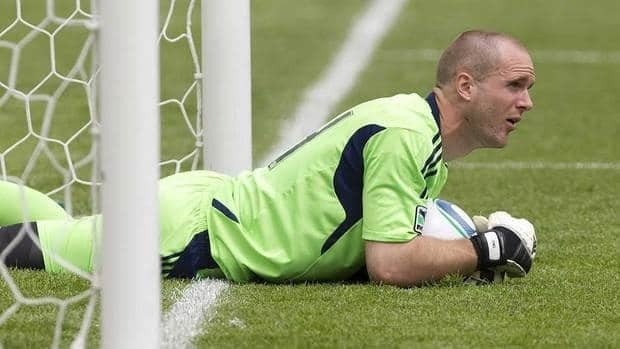Toronto FC goalkeeper Stefan Frei left a training game Friday after sustaining a leg injury.
