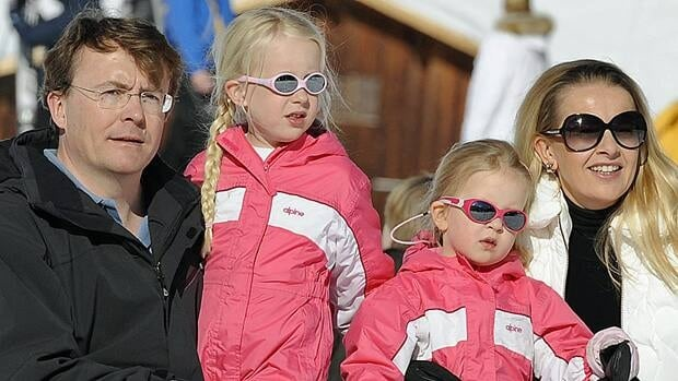 In this Feb. 19, 2011, file photo Netherland's Prince Friso and his wife Princess Mabel pose with their daughters Luana and Zaria during a photo session in the Austrian skiing resort of Lech.