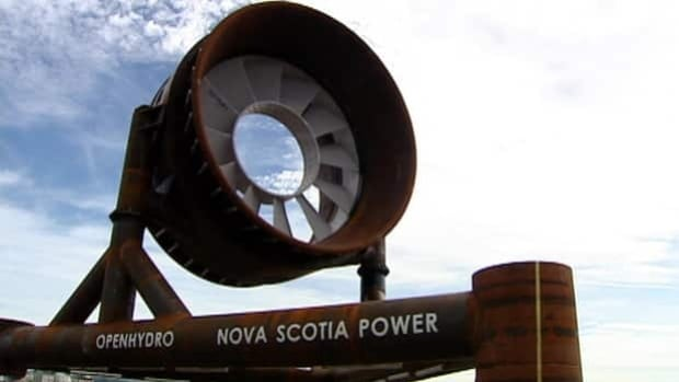 This turbine, installed by OpenHydro and Nova Scotia Power, was destroyed after a week in the water. It cost nearly $10 million to build.