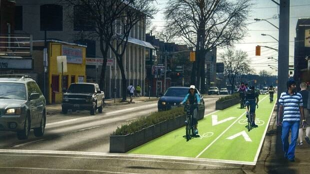 Image of what bike lanes on Cannon could look like.