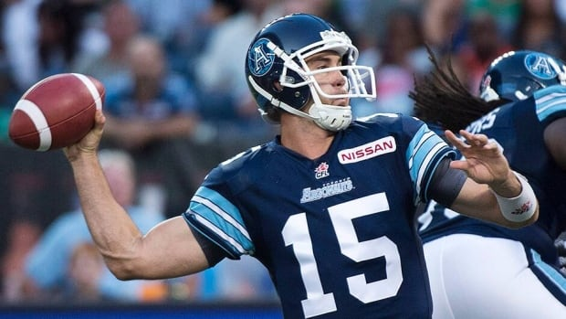Argonauts quarterback Ricky Ray went 30-of-35 for 413 yards and had three touchdown passes as his Argos held on to defeat the Edmonton Eskimos 36-33 in Toronto on Sunday.