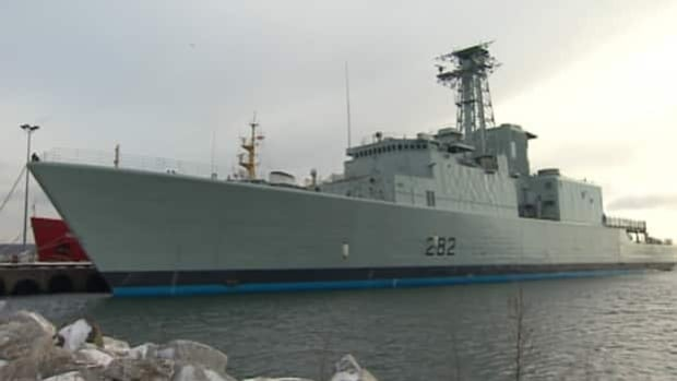 HMCS Athabaskan is currently berthed in North Sydney, N.S. It was undergoing repairs in Ontario, where the shipyard says there was a $5-million cost overrun.