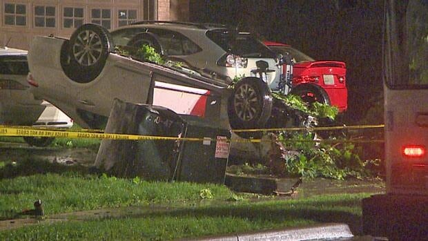 A woman died while walking her dog when this car rolled over her in Vaughan on Monday night.