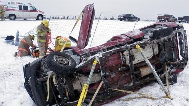 A man was sent to hospital after his truck rolled over on Highway 1 in Lepreau on Sunday afternoon.