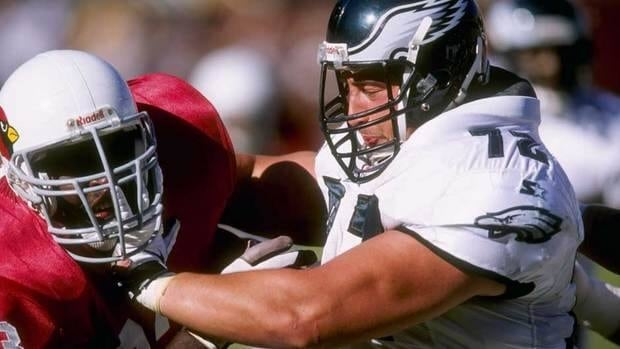 Former Eagle Joe Panos, right, is one of seven players to file the latest lawsuit against the NFL.