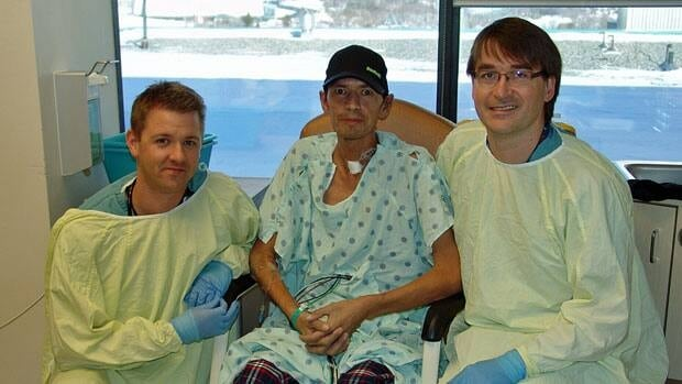 Dr. Matthew Cavanagh, Terrance Sutherland and Dr. Derek Manchuk are all smiles after Sutherland made it through a rare procedure to treat an unusual infection called blastomycosis.