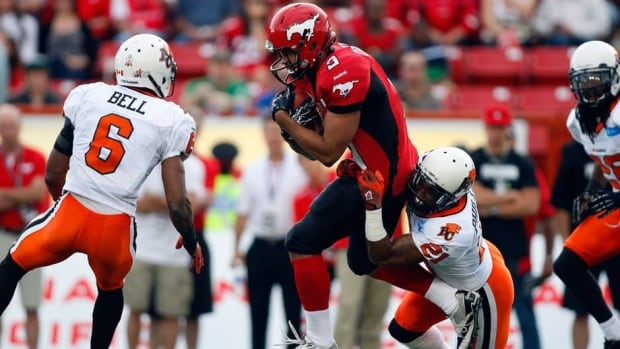Stampeders running back Jon Cornish (9) ran over the B.C. Lions for 172 yards and 2 TDs Friday night in Calgary.