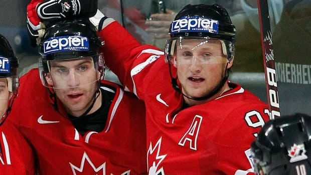 From left, John Tavares and Steven Stamkos, seen here at the 2010 world hockey championship, lead the new wave of young Canadian players that CBCSports.ca readers would like to see play at the 2014 Sochi Olympics.
