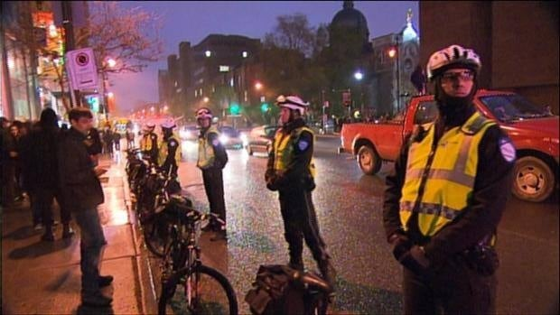 Bicycle police patrol at Tuesday night's student protest in downtown Montreal.