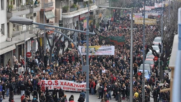 Demonstrators shout slogans during a protest in Thessaloniki on Saturday, protesting against a planned gold mine operation by Canadian company Eldorado Gold Corp.