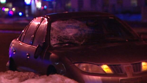 This vehicle, with its front window smashed, was seen in a section of Pembina Highway near Dalhousie Drive that was cordoned off by Winnipeg police on Tuesday evening.