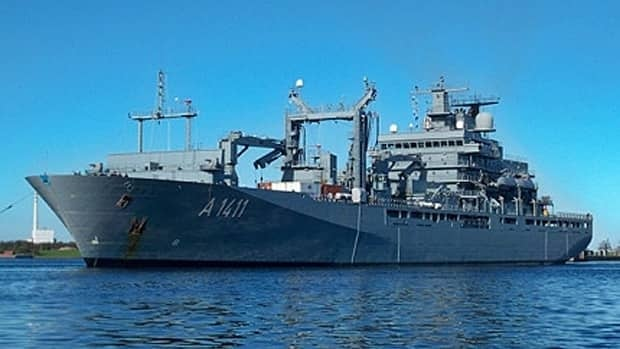 The Canadian Government announced Sunday it has selected ThyssenKrupp's design for new military resupply ships to be built in Vancouver. This type 702 Berlin Class fleet auxiliary vessel is currently in service with the German navy.