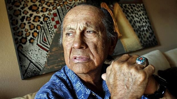 American Indian activist Russell Means, seen here at his home in Scottsdale, Arizona, in October 2011. has died at 72 after a battle with esophageal cancer.